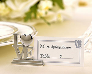 <center>Silver LOVE Place Card / Photo Holders (Set of 4)</center>