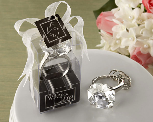 <center>&quot;With This Ring&quot; Engagement Ring Keychain</center>