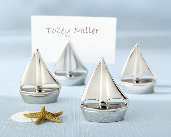"<center>""Shining Sails"" Silver Place Card Holders (Set of Four)</center>"