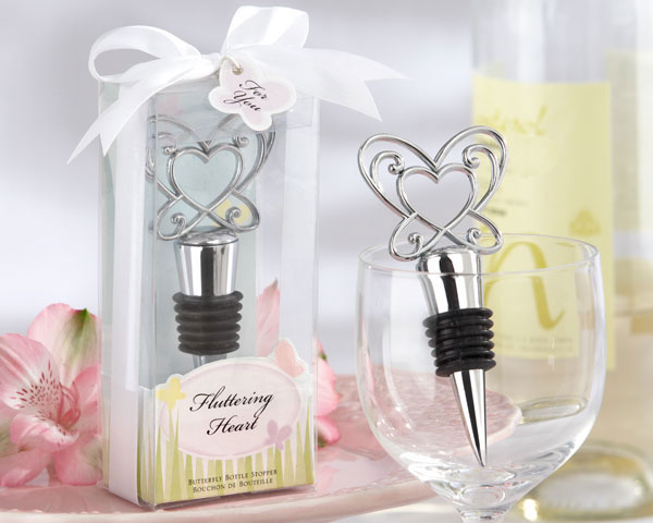 "<center>""Fluttering Heart"" Butterfly Chrome Bottle Stopper</center>"