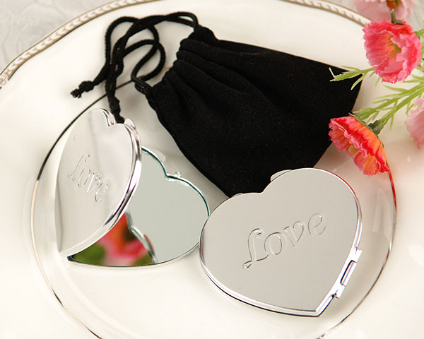 <center>&quot;Love&quot; Heart Shaped Compact Mirror in Pouch</center>