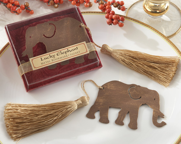 <center>&quot;Lucky Elephant&quot; Metal Bookmark with Gold Tassel </center>
