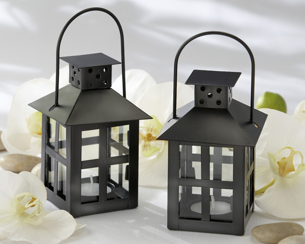 <center>Luminous Black Mini-Lantern Tea Light Holder</center>