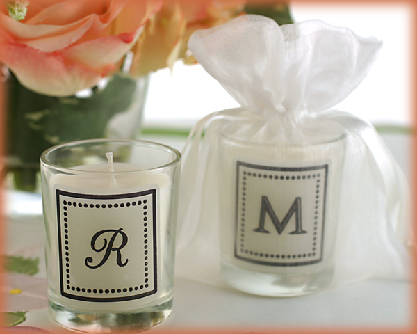 <center>Monogrammed Votive Candle in Organza Bag</center>
