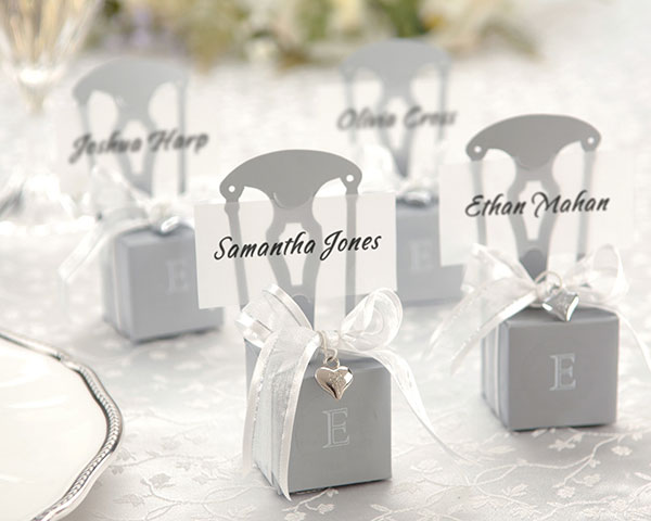 <center>Mini Silver Chair Favor Box (Can be Monogrammed)</center>