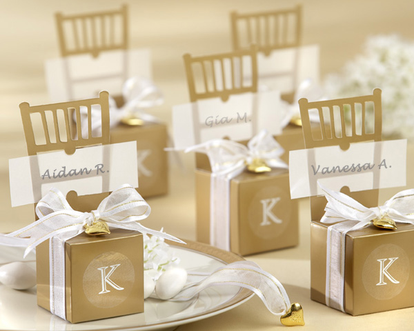 <center>Mini Gold Chair Favor Box (Can be Monogrammed)</center>