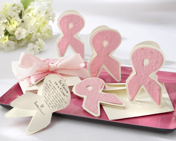"<center>""In Favor of a Cure"" Pink Ribbon Plantable Wildflower Favors (Set of 12) </center>"