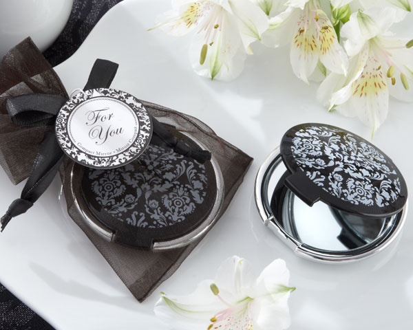 <center>&quot;Reflections&quot; Elegant Black-and-White Mirror Compact </center>