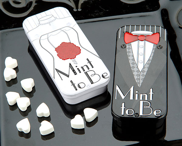 <center>&quot;Mint to Be&quot; Slide Mint Tins with Heart Mints BRIDE</center>