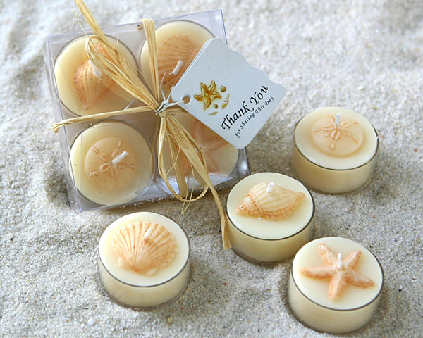 <center>&quot;Seaside&quot; Tea Light 4 Piece Candle Set </center>