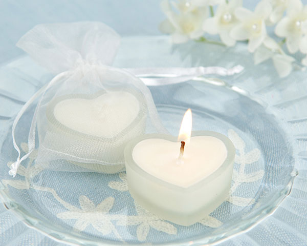 <center>'HeartLights' Frosted Glass Heart Candles (Set of 4) </center>