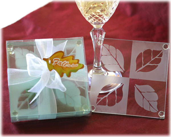 "<center>""Fall in Love"" Frosted Leaf Design Glass Coaster Set</center>"